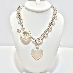Tiffany sterling silver heart toggle necklace